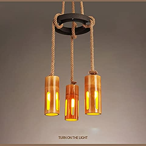 BJVB Legno rustico canapa corda pendente lampade