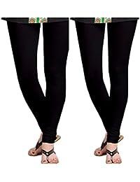 Dream Fashion Black Cotton Lycra leggings For women's ( Pack Of 2)