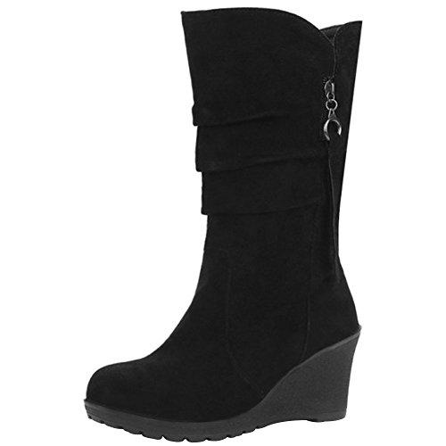 wealsex Bottine Botte Compensées Suédé Mi-Mollet Femme Fermeture Eclair Chaussure Chaud Automne Hiver Confort Mode Grande Taille 40 41 42 43