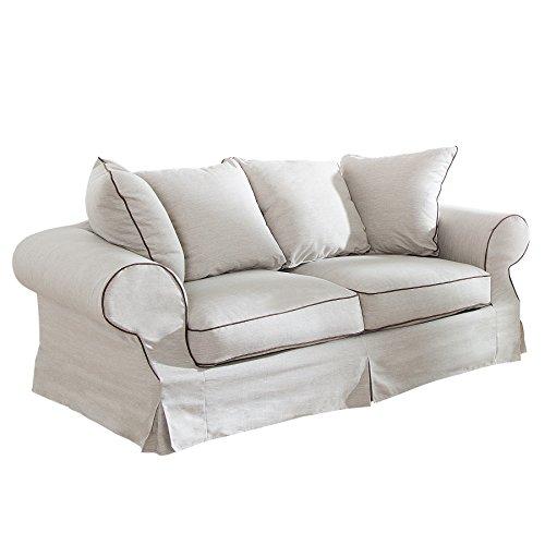 Elegantes Hussen 2er Sofa RIVIERA 210cm beige Hussenoptik mit Kissen Couch Zweisitzer