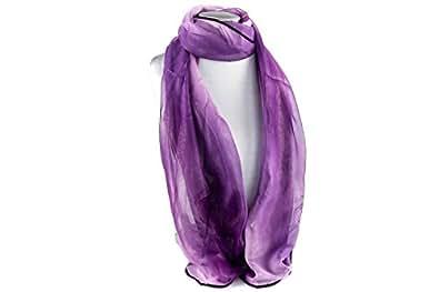 Foulard RONCATO donna in chiffon sfumato lilla sciarpa in box regalo L1180