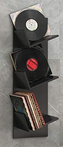 VCM Regal Schallplatten Möbel LP Aufbwahrung Archivierung Wandregal Hängeregal Holz Schwarz 106 x 33 x 26 cm 'Sulda'