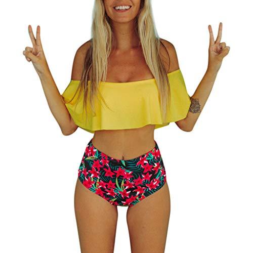 Bra de bikini con volante amarillo