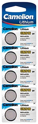 CAMELION - Lot de 5 piles bouton lithium CR2016 3V