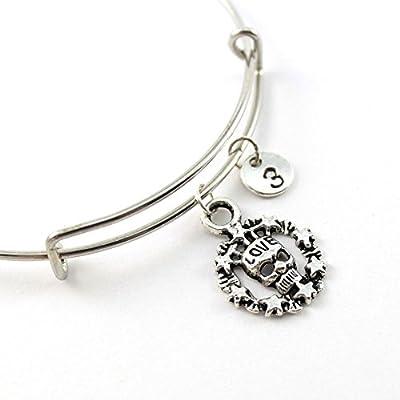 Bracelet jonc SUGAR SKULL personnalisé | Bracelet Tête de Mort LOVE | Bijou à initiale | Bijou pierre de naissance | Cadeau personnalisé