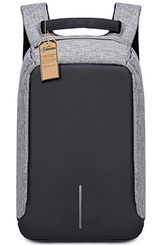 Fresion Anti-theft Laptop Bag Notebook Rucksack with External USB Charging Port Waterproof Lightweight Business/Travel/College Rucksack & Used with Trolley Box Grey