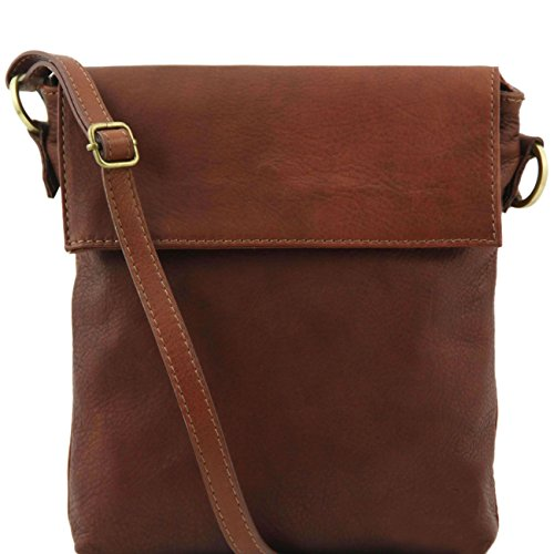 Tuscany Leather Morgan - Borsa a tracolla in pelle Marrone Borse uomo in pelle