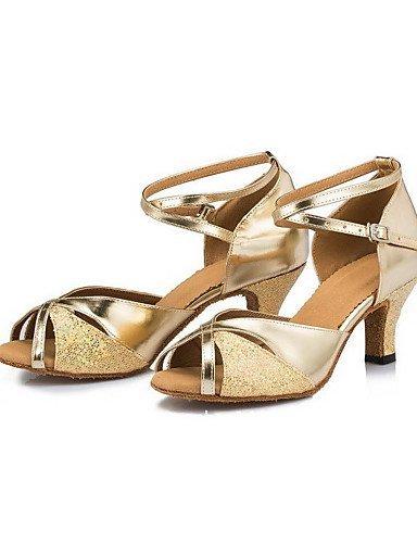 ShangYi Chaussures de danse ( Autre ) - Non Personnalisables - Talon Bobine - Satin - Latine Gold
