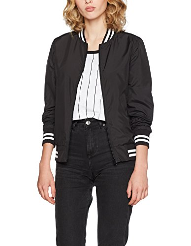 Urban Classics Damen Jacke Ladies Nylon College Jacket, Schwarz (Black 7), X-Small Damen Nylon Jacke