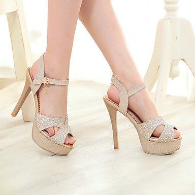 LvYuan Sandali-Matrimonio Serata e festa Formale-D'Orsay Club Shoes-A stiletto-Materiali personalizzati Finta pelle-Argento Dorato Silver