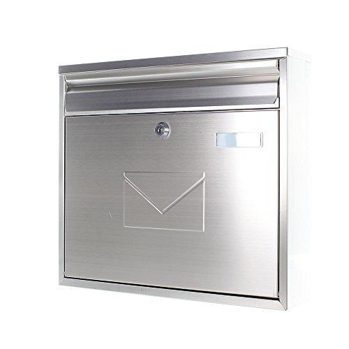 Rottner Briefkasten Teramo Edelstahl, mit Einwurfmöglichkeit von vorne und hinten, Zylinderschloss mit 2 Schlüssel, Zaunbriefkasten - 2