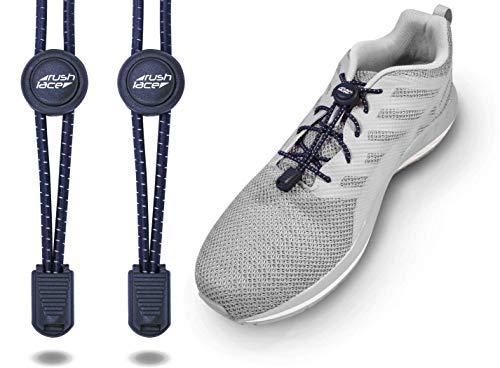 Rush Lace, elastische Schnürsenkel, Schnell-Verschluss, Schnell-schnürsystem, idealer Sitz Perfekter Halt - für Erwachsene und Kinder geeignet - ohne Schuhe binden! (Navy, Marine-blau, 1 Paar)