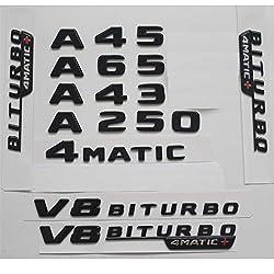 3D Nummernbuchstaben hinten Kofferraum Emblem f/ür Benz A45 AMG gl/änzend schwarz