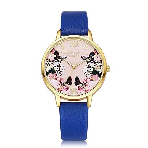 Frauen Uhren,Moeavan Frauen Quarz Uhren COOKI Analog Clearance Damen Armbanduhren Mädchen Uhren Leder Damenuhren. (Blau)