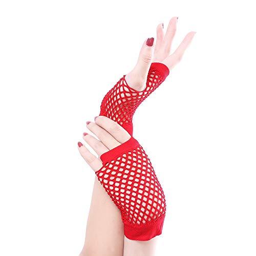 Paare Kostüm Verschiedene - Dehnbare fingerlose Neon-Netzhandschuhe (10 Paare) für Partys, Kostüme - Verschiedene Farben (Color : Red)