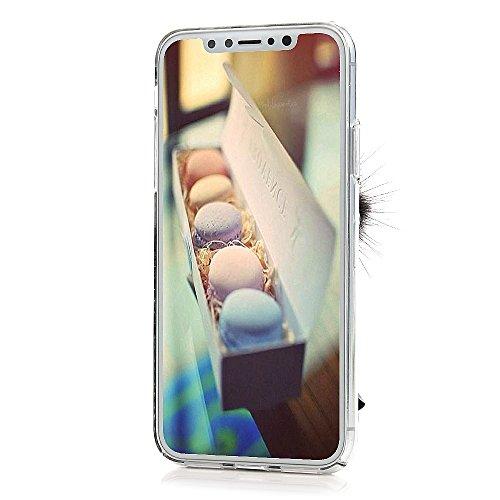 Lanveni Handyhülle für iPhone X Hülle Etui Protective Case Cover PC Hardcase Plastik Schutzhülle Handytasche mit Bunte Muster Cover Design (1x PC Hülle +1 x Kondensatorstift + 1 x HD Schutzfolie) Wasser Lotus