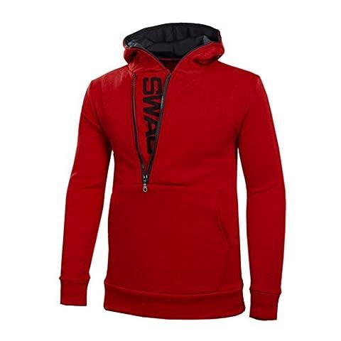 FORH Herren super cool Kapuzenpullover Mantel Einfarbig Mit Kapuze Langarm Sweatshirt Side zipper Jacke Tops Große Größe sportlich Outwear (4XL, Rot)
