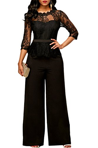 Suvotimo le donne eleganti scollato lace festa in ufficio playsuits tute rompers black xxl