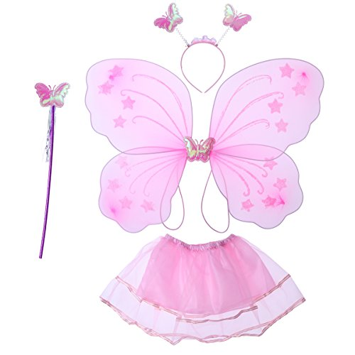 luoem Mädchen Kostüm Schmetterling Fee Flügel Schmetterling Fee Zauberstab Kopfband und rosa Tutu Rock 4-teilig (Schmetterling Flügel Kostüme)