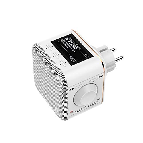 "Hama Internetradio für die Steckdose (Bluetooth/AUX/USB/Spotify/Multiroom/Netzwerkstreaming, integr. Radio-Wecker, beleuchtetes Display) Steckdosenradio ""IR40MBT-PlugIn"""