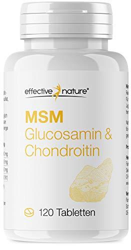 effective nature MSM Natürlicher Schwefel Tabletten mit Chondroitin & Glucosamin - 120 Vegane Tabletten