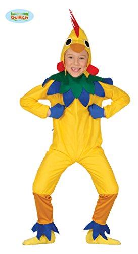 Guirca Hühner Kostüm für Kinder Huhn Kinderkostüm Tier gelbes Henne Ei Hühnchen gelb Gr 98-146, Größe:128/134 (Kinder Bauernhof Tier Kostüm)