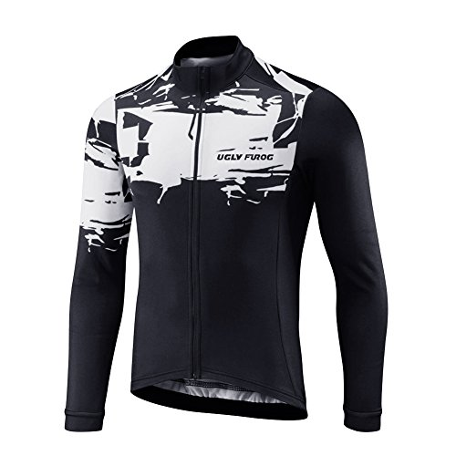 Uglyfrog Herren Langarm Radtrikot Fahrradtrikot Radshirt Fahrradshirts Fahrradbekleidung für Männer mit Elastische Atmungsaktive Schnell Trocknen Stoff Full Zip