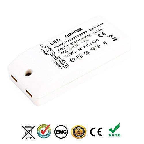 Preisvergleich Produktbild Liqoo® 18W 1.5A LED Trafo Treiber Transformator stabilisierte Spannungsquelle für 12V DC LED Lampen, Stromversorgung Ideal für LED Lichtstreifen, sowie für G4, MR11 und MR16 LED Lampen 0.5W-14.4W