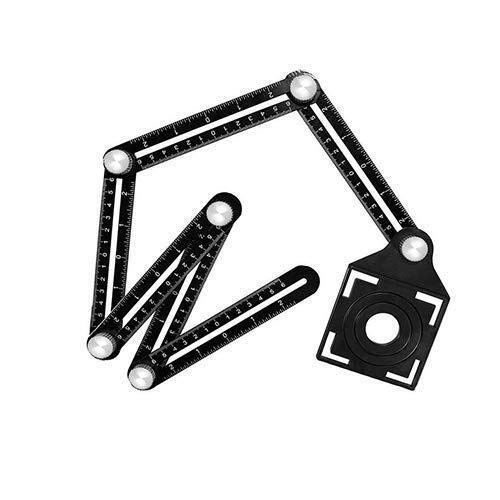 WANG-Werkzeuge Mehrwinkel-Messlineal - Sechsseitiges Schablonenwerkzeug aus Aluminiumlegierung mit Lochsuchhilfe for Keramikfliesen for Designer/Bauherren/Tischler/Kipper/Handwerker