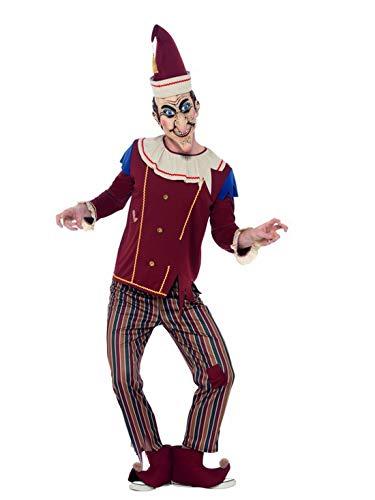 costumebakery - Herren Männer Kostüm besessener böser hölzerner Clown Naar Harlekin, Possessed Punch, perfekt für Halloween Karneval und Fasching, M, Braun