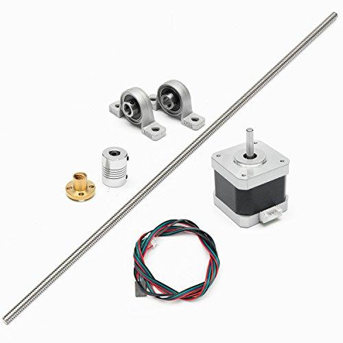 Preisvergleich Produktbild MOHOO Schrittmotor 8mm Edelstahl T8 500mm Edelstahl-Blei-Schraube + Schraubmutter + montiertes Kugellager + Wellenkupplung