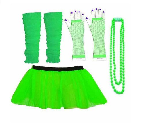 4 teiliges Set mit Tutu, für Erwachsene, Neon Green, Tutu Fischnetz-Handschuhe, Legwarmer (80er Kostüm, RB Mode Bekleidung)