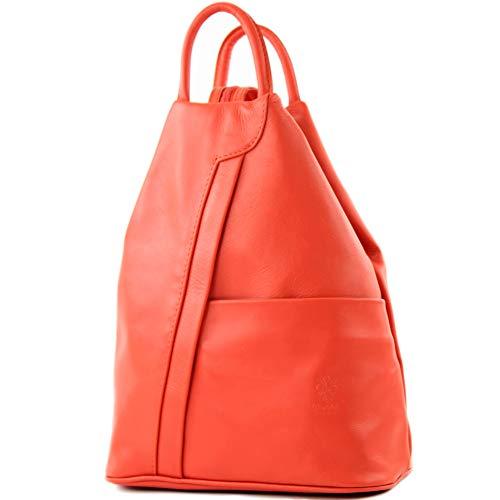modamoda de - T180 - ital Damen Rucksack Tasche Nappaleder, Farbe:Koralle