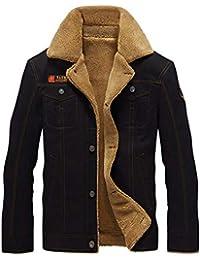 Caidi Veste Militaire Blouson Homme Chaud Épais Vintage Veste Manche Longue  Bouton Manteau Casual (5XL 3c82bfb0f7f9