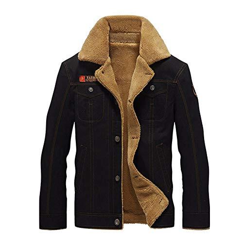 caidi–Chaqueta Militar Cazadora para Hombre cálido Grueso Vintage Abrigo Manga Larga Botón Chaqueta Casual, Color Negro M
