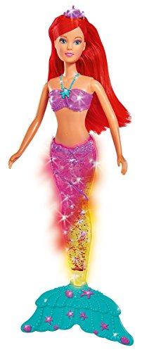 Simba 105733049 Steffi Love Puppe als Meerjungfrau mit magischem Glitter und bunt leuchtender Flosse/34cm -