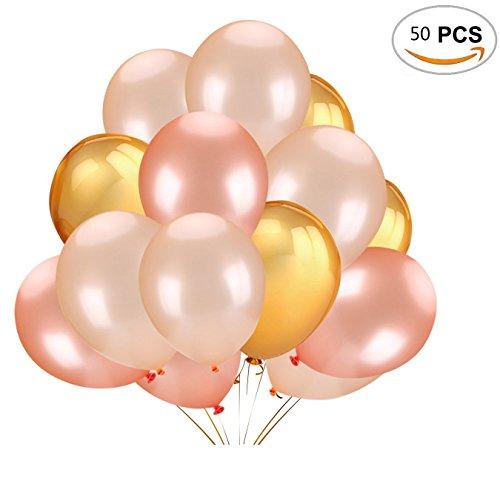 Wenosda 50 stücke Latex ballon 12 Zoll Gold & Rose Gold & Champagner Ballons für Hochzeit Geburtstag Party Engagement Baby Dusche Dekorative (Platzen-dusche)
