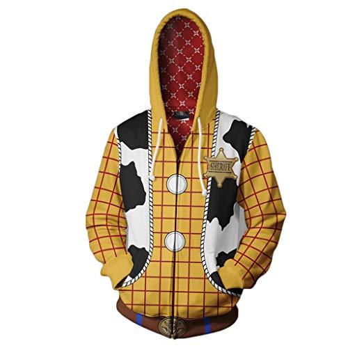 Yujingc Toy Story 3D Print Kapuzen-Reißverschluss-Sweatshirt Phantasie Cosplay Anime Hoodie Herren Lose Langarm Sportjacke Oberbekleidung,Yellow,4XL (Halloween-kostüme Frauen Toy Story)