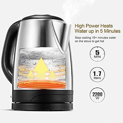 Wasserkocher-Edelstahl-Kiket-Elektrischer-Wasserkessel-Schnellwasserkocher-Automatische-Abschaltung-und-kochendem-Trockenschutz-Polierte-und-Kabellose-Teekanne-2200-watt-17L-Silber