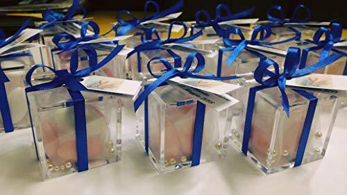 12 pezzi confettata scatoline gia' confezionate con confetti e bigliettino personalizzato bomboniere fai da te nascita battesimo comunione, celeste, rosa, bianco completo con confetti nastrino e bigliettino