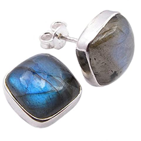 Labradorite stud earrings in sterling silver - Stone size 10mm