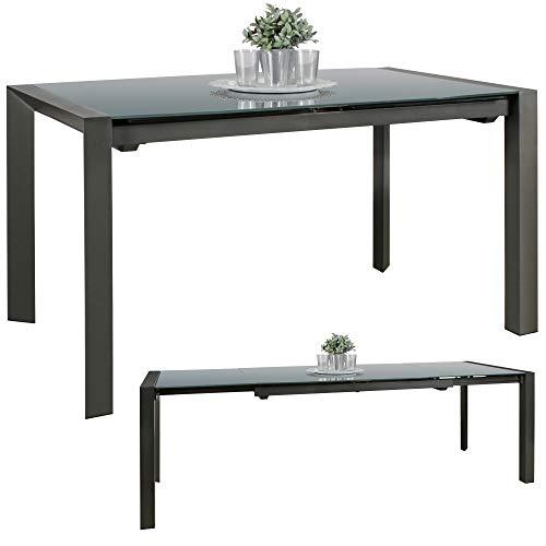 Ks-furniture noble 136-236 - tavolo per sala da pranzo allungabile in metallo e vetro, colore: grigio scuro, 6-10 persone