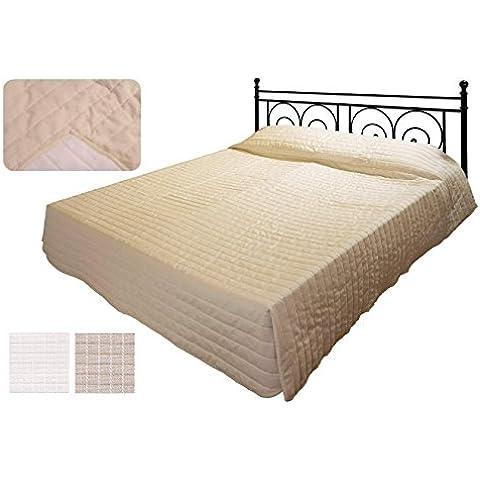 SCHEFFLER-HOME Praga Copriletto trapuntato 220x270 cm jacquard qualità, reversibile Bedspread per sofa, divano, letto, poltrona - Beige-Écru