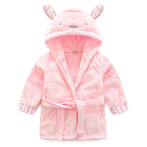 Baby Bademantel Mit Kapuze Jungen Mädchen Nachtwäsche 0-12 Monate,Rosa