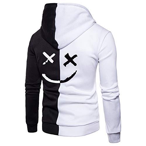 LDHY Sport-Sweatshirt, lässiger Herren-Hoodie, farbblockierte Jacke mit Reißverschluss und Smile-Print, Kapuzenpullover mit Tunnelzug und Sweatshirt mit Langen Ärmeln-A/White-XL