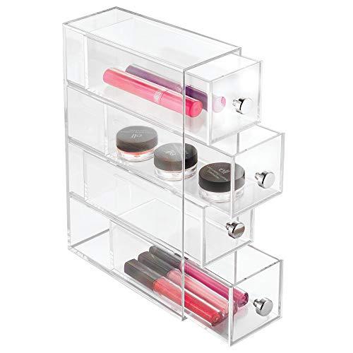 nizer mit 4 Schubladen, schmaler Schubladenturm aus Kunststoff, horizontal und vertikal einsetzbare Schubladenbox für Schminke, durchsichtig ()