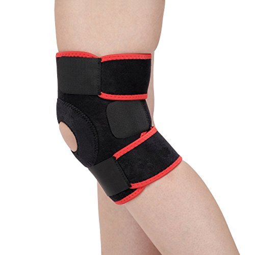 Aurion Adjustable Knee Support with Stays, Free Size (Black)