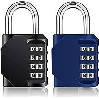 ZHEGE Combination Padlocks, 4 Digit Locker Padlocks for Gym Lockers, School Locker, Weatherproof Outdoor Padlock for…