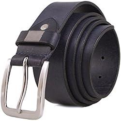 Zerimar Cinturón Piel de Hombre | 4 cm Ancho | Cinturón Hombre Cuero | Cinturón Hombre Hebilla | Cinturón Piel