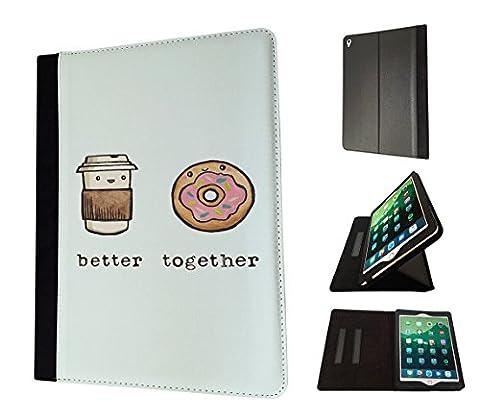 002282 - Best Friend Better Together Quote Coffee Doughnut Design Apple ipad Mini 4 -2015 Fashion Trend Book Style Coque Purse Wallet Pouch portefeuille Poche Flip Coque Flip Case Coquee